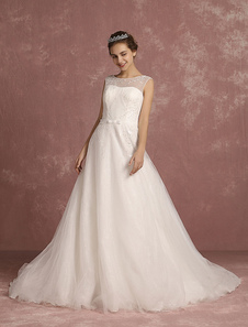Summer Wedding Dresses 2017 Tulle Illusion Neck A Line Bridal Gowns Sleeveless Applique Button Back Beaded Bridal Dress With Chapel Train