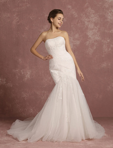 Summer Wedding Dresses 2017 Tulle Lace Applique Mermaid Bridal Gown Ivory Sweetheart Strapless Sleeveless Cathedral Train Bridal Dress
