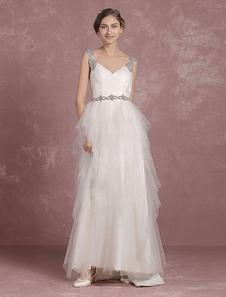 Summer Wedding Dresses 2017 Tull Straps A Line Bridal Gown Backless Tiered V Neck Beading Sleeveless Floor Length Bridal Dress