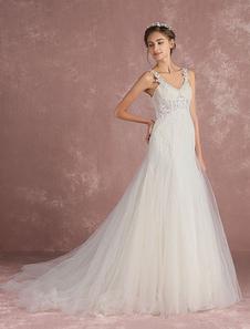 Tulle Wedding Dress Luxury Bridal Dress Mermaid V Neck Lace Applique Straps Illusion Waist Cutout Back Design Bridal Gown With Train