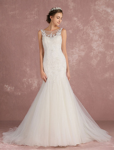 Mermaid Wedding Dress Tulle Luxury Bridal Dress Ivory Lace Applique Beading Backless Illusion Neckline Sweetheart Bridal Gown With Train