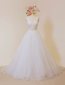 Ivory Wedding Dresses 2017 Tulle Backless Bridal Dress V Neck Illusion Lace Beading A Line Bridal Gown With Chapel Train