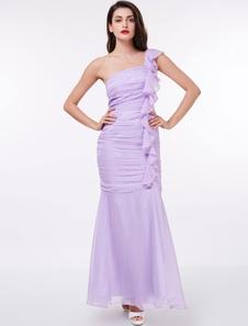 Lilac Bridesmaid Dresses One Shoulder Pleated Cascading Ruffles Mermaid Long Bridesmaid Dress