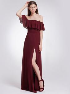 Long Bridesmaid Dress Burgundy Off The Shoulder Formal Dress Chiffon High Split Wedding Guest Dress With Train