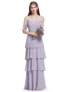 Lilac Bridesmaid Dress Long Chiffon Ruffles Tiered V Neck Off The Shoulder Floor Length Wedding Party Dress