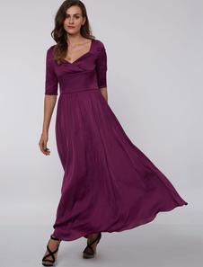 Evening Dresses Formal Plum Queen Anne Neck Mother Dress Half Sleeve Elastic Silk Like Satin Long Wedding Guest Dresses