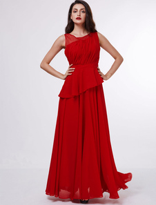 Mother Of The Bride Dresses Red Chiffon Asymmetrical Ruffles Floor Length Wedding Guest Dress