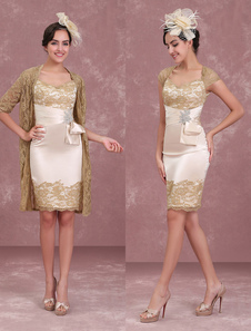 Mother Of The Bride Dresses Champagne Sheath Lace Keyhole Queen Anne Neck Two Piece Occasion Dress With Jacket