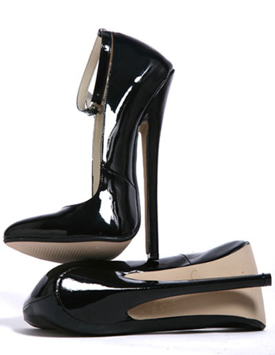 High Heel Black Ankle Straps Patent Sexy Pumps