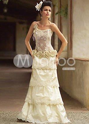 Champagne A-line Multi-layer Flower Spaghetti Taffeta Lace Wedding Dress