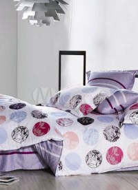4-pc Modern Purple And White Cotton Duvet Cover Bedding ...