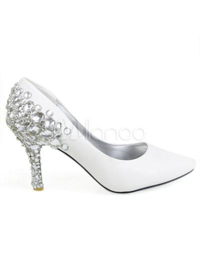 Pelle bianca decorazione Bridal scarpe da sposa strass