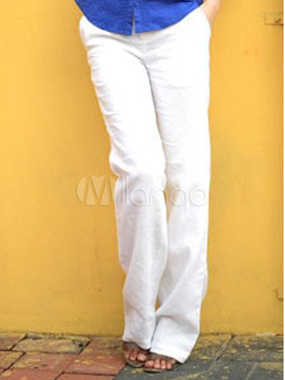 Elegant White Cotton Polyester Straight Pants For Women