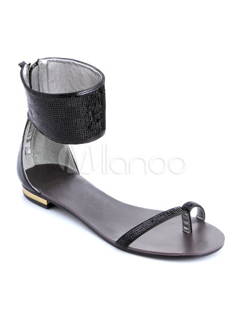 Trendy Black Flat Satin Fashion Sandals