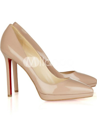Elegant Beige Patent Leather 4 1/3'' High Heel Womens Fashion Pumps