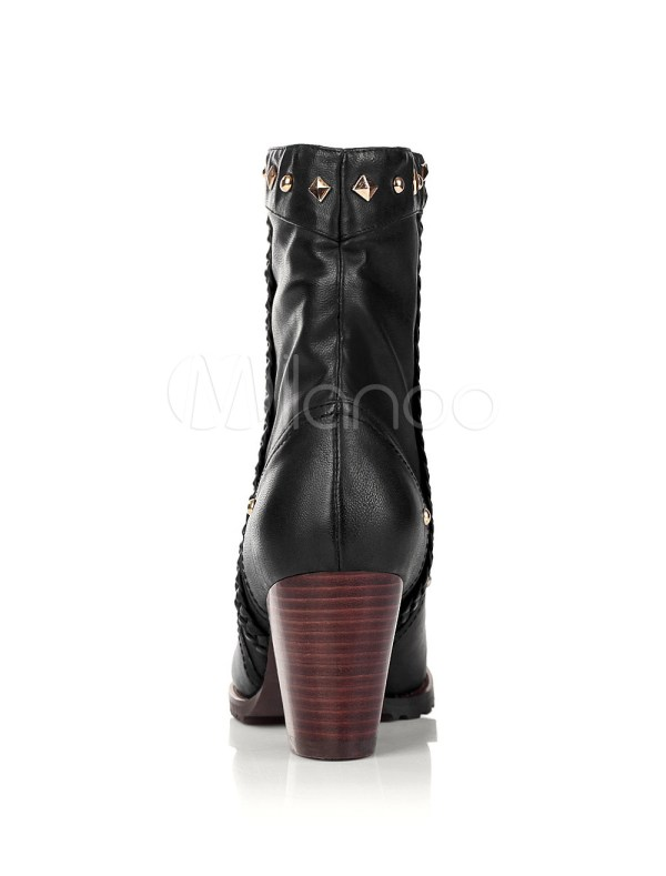 "Black 2 3 4"" High Heel Pig Skin Cowgirl Boots"