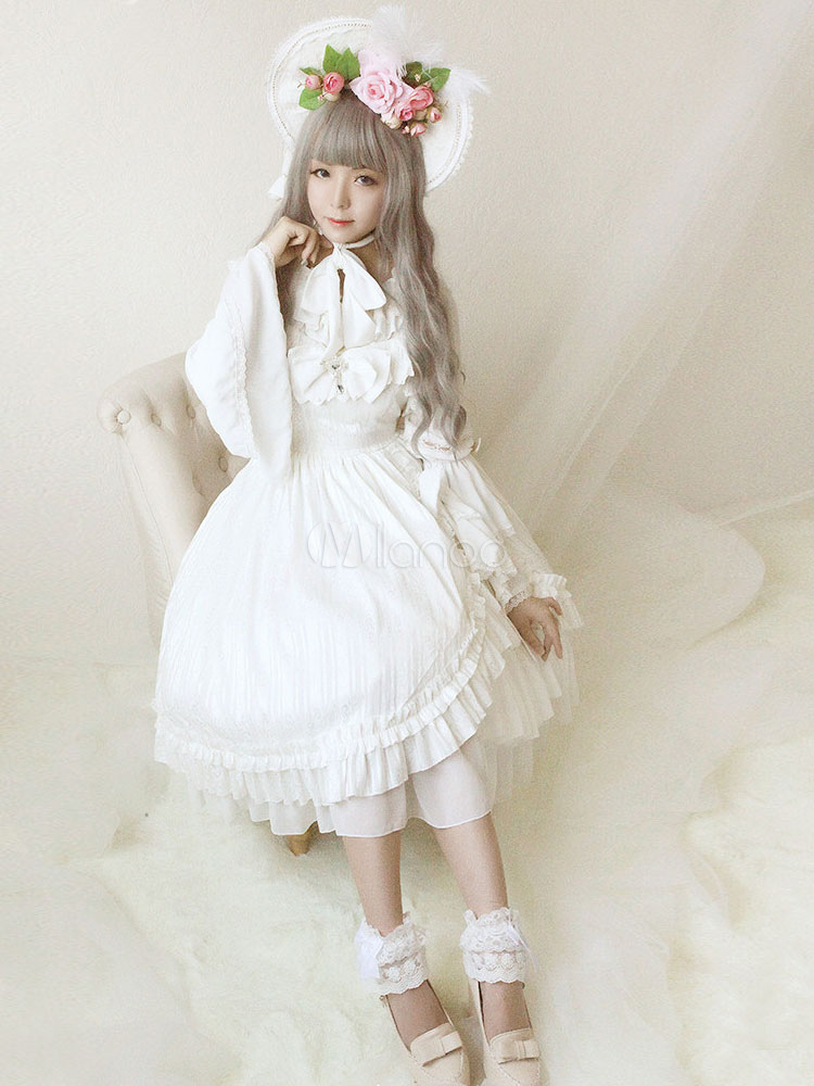 Lolita Wedding Dress OP White Chiffon Ruffle Bow Lace