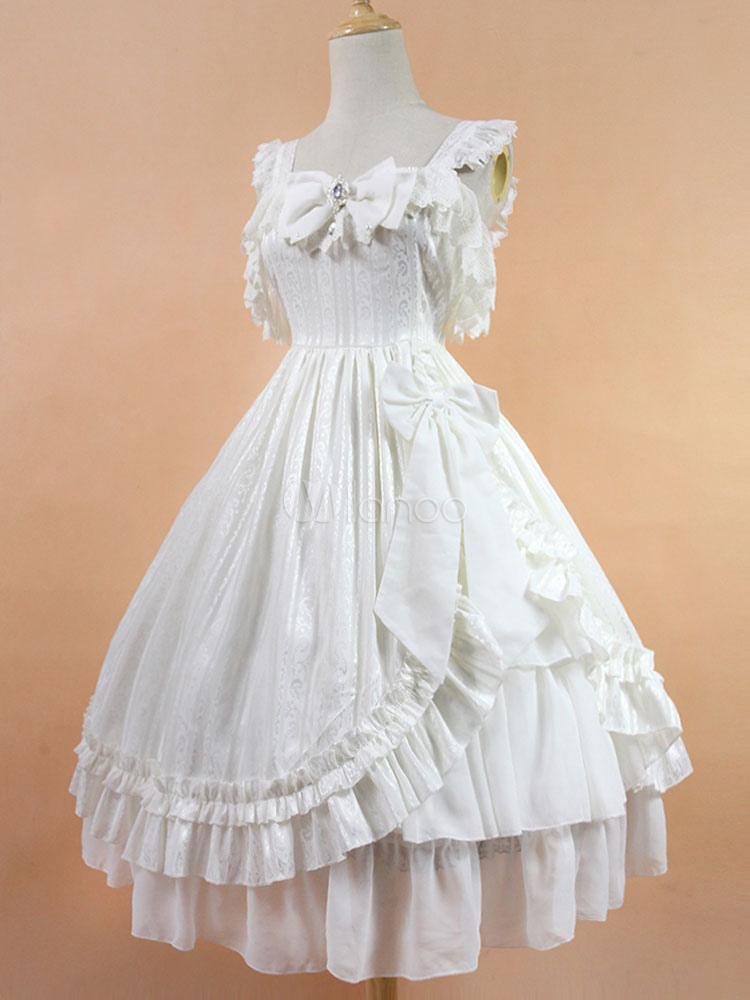 Lolita Wedding Dress OP White Chiffon Ruffle Bow Lace