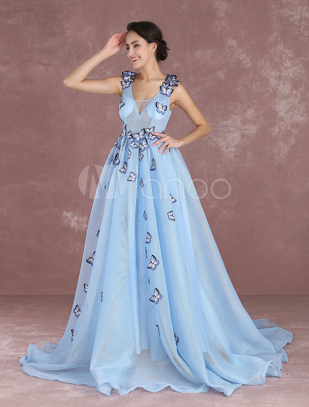 Baby Blue Quinceanera Dresses Princess Illusion Butterfly
