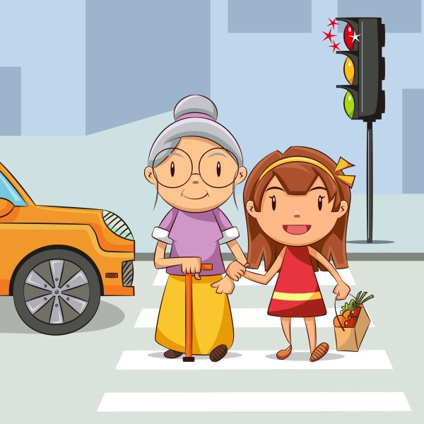 Helping Old Woman Cross the Street