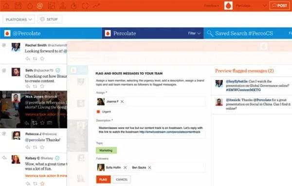 Percolate social media management tool screenshot
