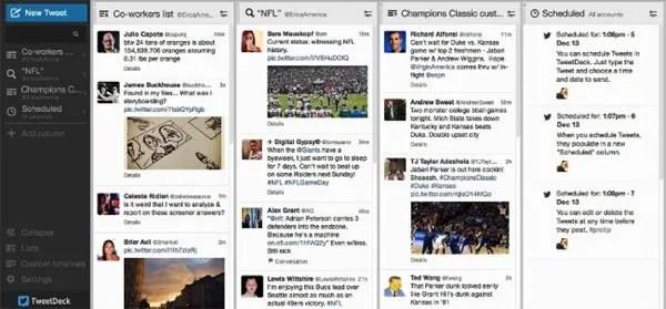 A screen shot of TweetDeck
