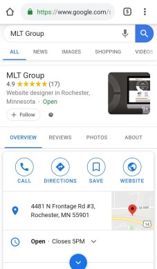 A screenshot showing MLT Group's Google My Business listing.