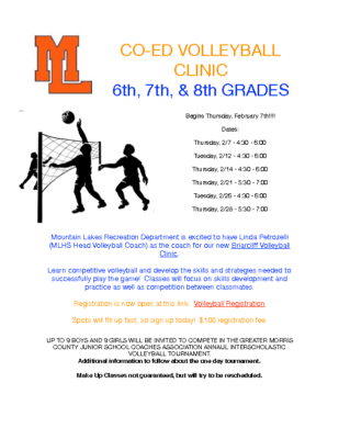 ML Recreation Co-Ed Volleyball Clinic –         for students in grades 6 through 8