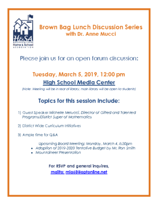 Agenda for Brown Bag Lunch Discussion Series with Dr. Mucci