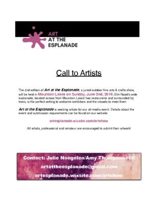 Call to Artists – Art at the Esplanade