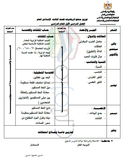 توزيع منهج الرياضيات للصف الثالث الإعدادي ملزمتي