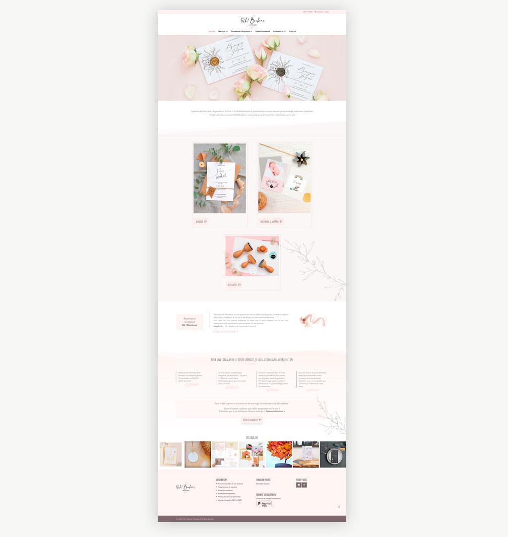 page accueil site e-commerce Oh! Bonheur