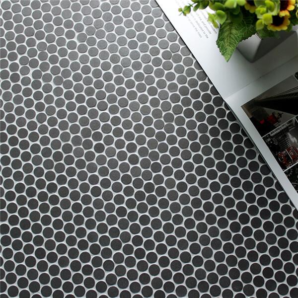 12 7mm small matte black penny mosaic