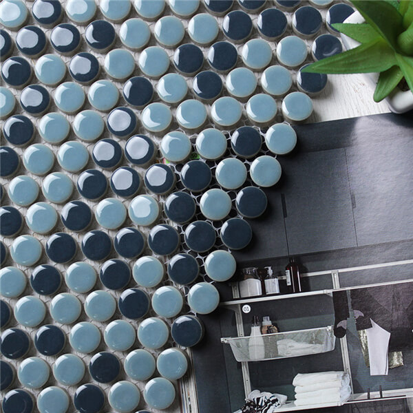 blue penny tile round mosaic