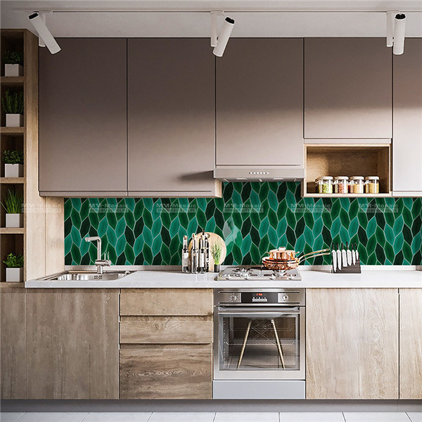 ceramic mosaic backsplash tiles green