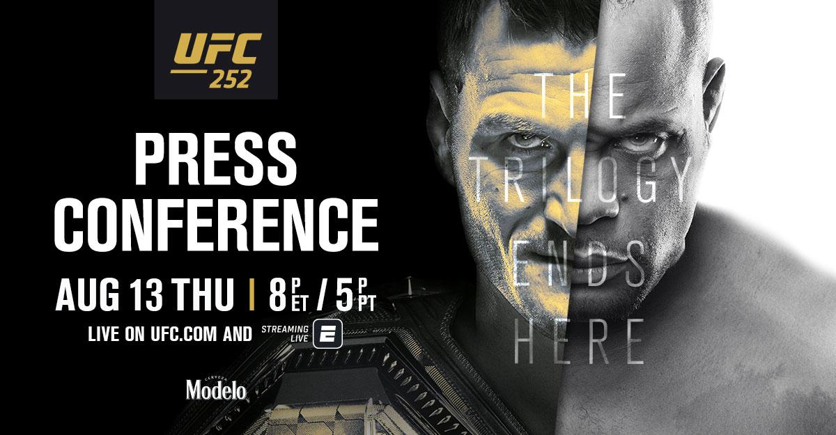 UFC 252 pre-fight press conference set for 8 p.m. ET tonight