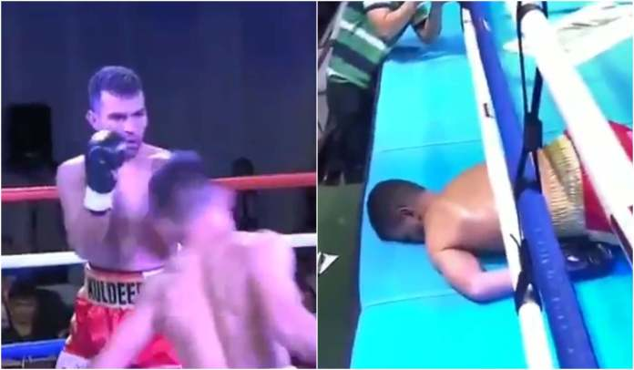 VIDEO: Indian Boxer Kuldeep Dhanda gets brutally KNOCKED OUT by Filipino boxer promoted by Oscar De La Hoya - Filipino