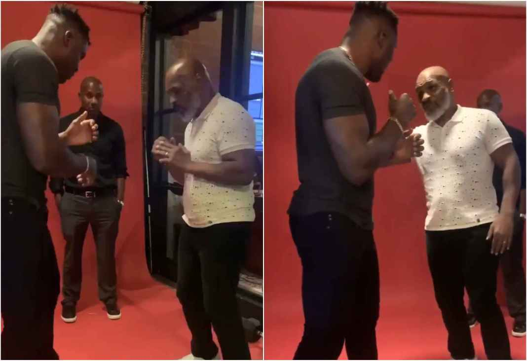 VIDEO: 'BMF' Mike Tyson teaches Francis Ngannou boxing techniques - Tyson