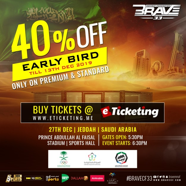 BRAVE CF 33 offers early bird ticket discounts for Saudi Arabia fans - BRAVE CF 33