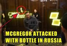 VIDEO. Conor McGregor a fost atacat cu o sticlă de apă la conferința sa de presă din Rusia!