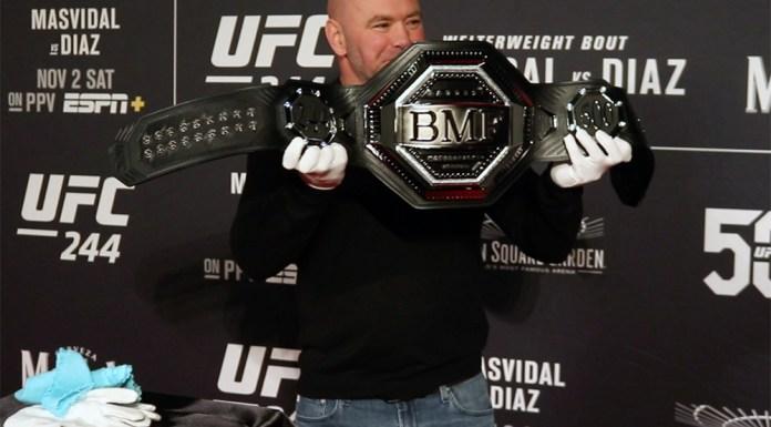 VIDEO. Dana White a arătat presei centura BMF pentru care se vor lupta Nate Diaz și Jorge Masvidal!