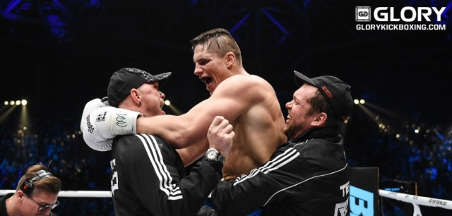 Rico celebrates after his huge win at GLORY 26. Photo Credit: James Law, GLORY Sports International