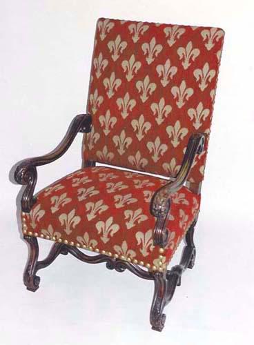 French Antique Louis XIV Armchair with FleursdeLys