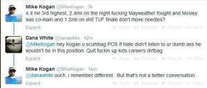 Dana White sparring on Twitter with Mike Kogan