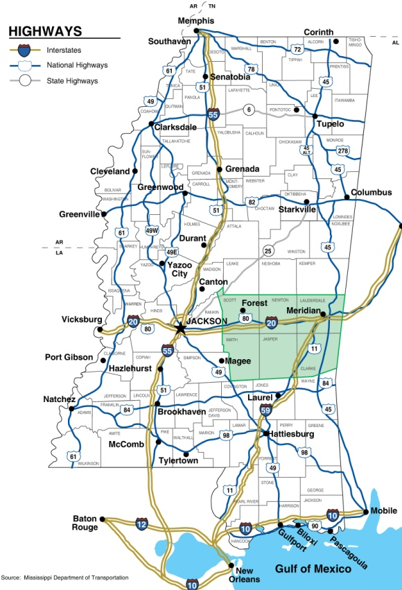 State Highway Map MidMississippi Development District