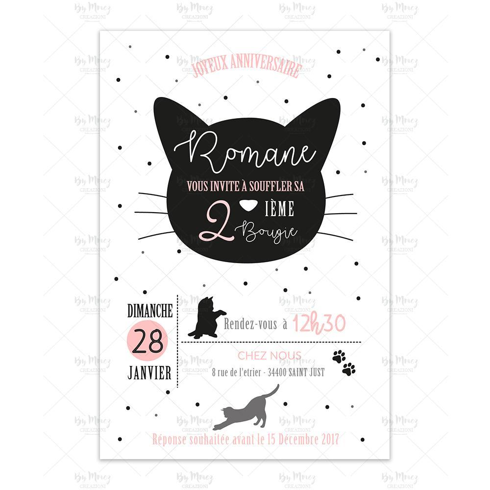 invitation anniversaire theme chaton black