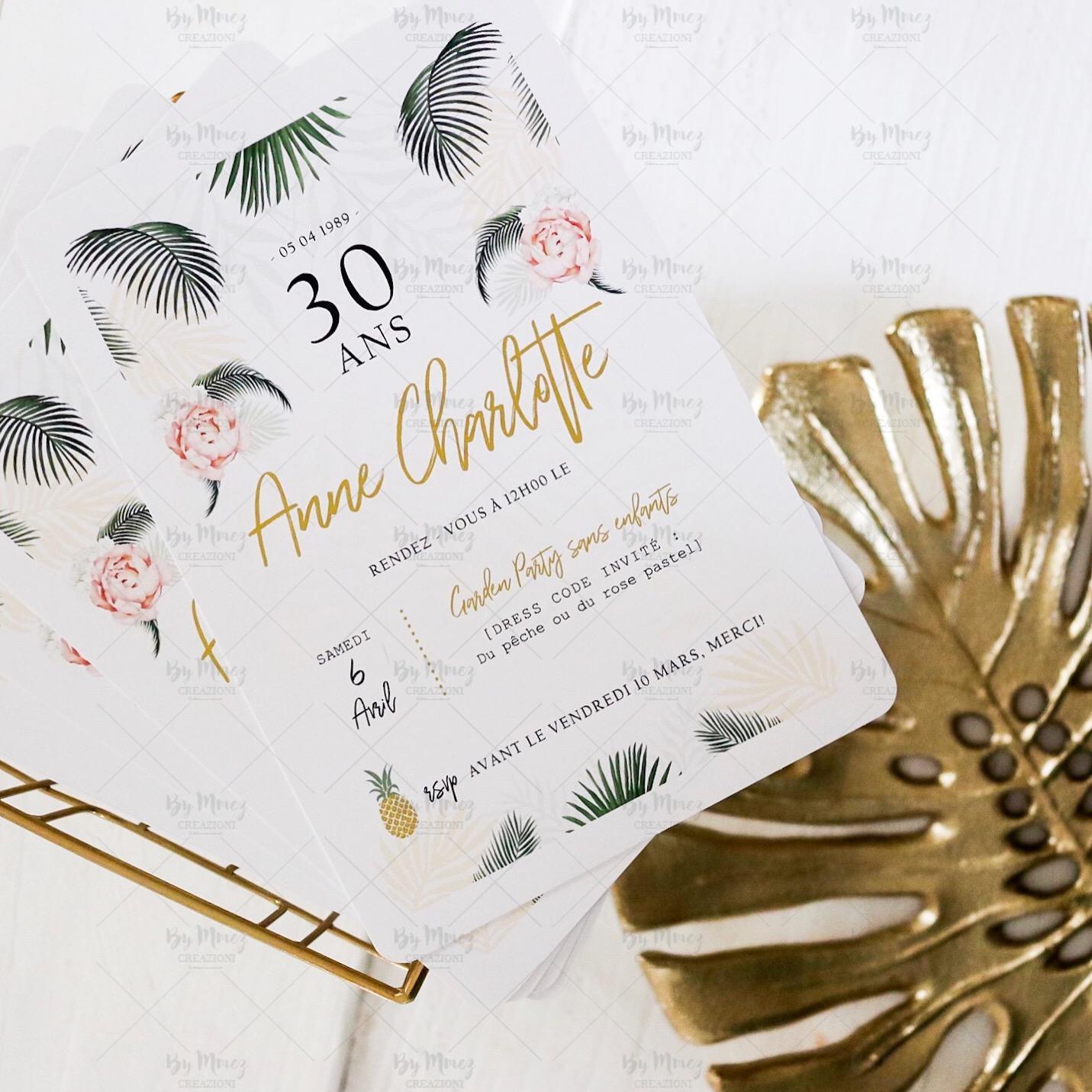 invitation anniversaire theme tropical chic