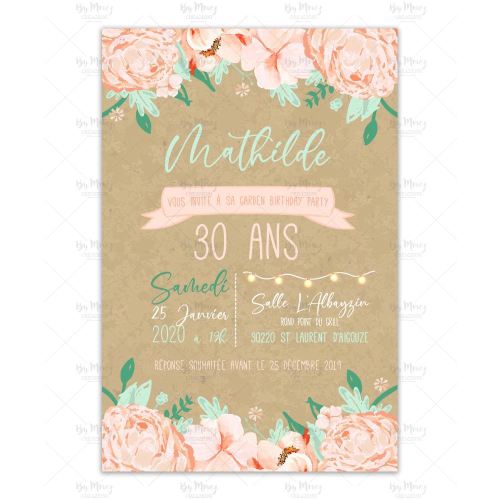 invitation anniversaire theme kraft et fleurie
