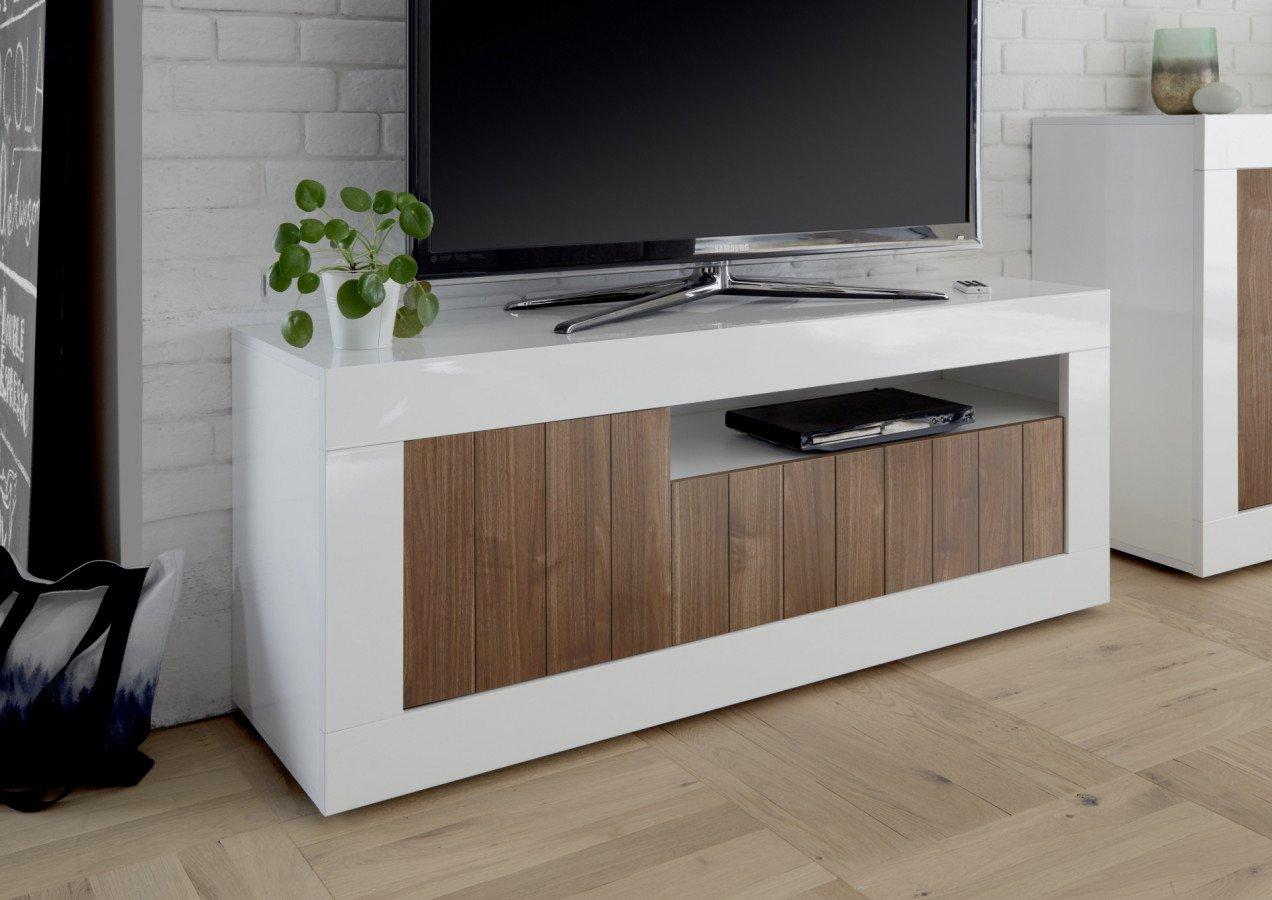 banc tv blanc laque et bois coloris noyer moderne napoli