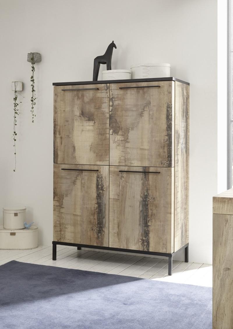 buffet haut industriel 4 portes avec effet bois recycle colorado